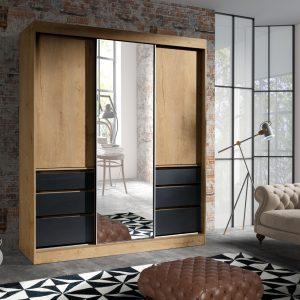 Skapis ar bīdāmām durvīm un spoguli Haiti 180