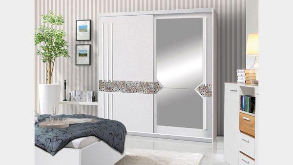 Skapis ar bīdāmām durvīm un spoguli Atena 150